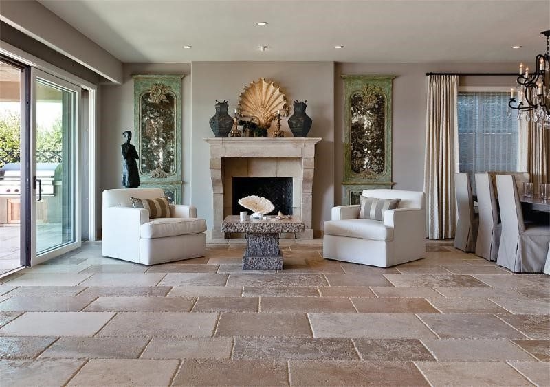 Natural Stone Fireplace French Limestone Flooring