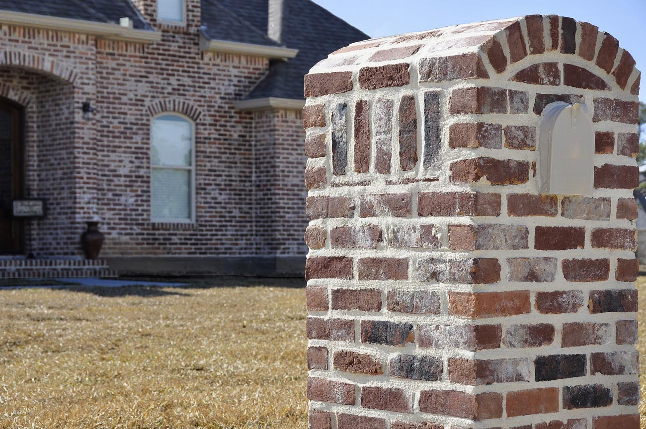 Old Texas Brick Old San Luis with White mortar, used brick look