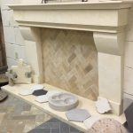 Limestone natural stone fireplace surround